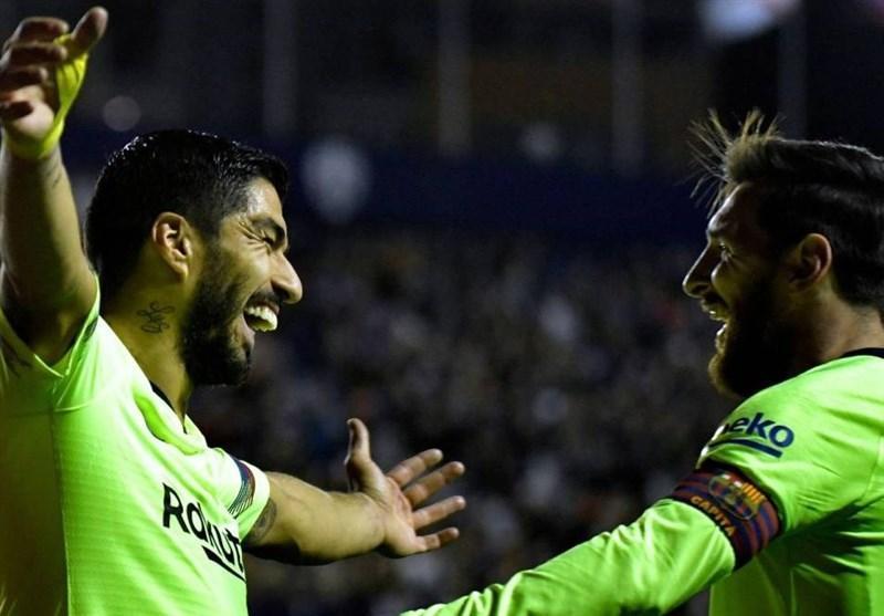 آتش بازی بارسلونا در خانه لوانته با درخشش مهاجمانش
