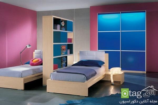 طراحی دکوراسیون اتاق خواب بچه ها دوقلو در فضای کوچک و عظیم